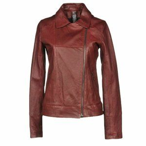 Giorgio Brato DIstressed Bordeux Leather Jacket 40